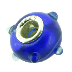 K Bead versilbert -  blau mit abstehenden Punkten