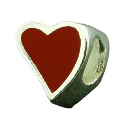 K Bead aus Sterlingsilber - Rotes Herz