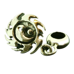 K Bead aus Sterlingsilber -  Feuerball Yin und Yang