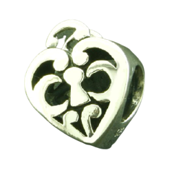 K Bead aus Sterlingsilber - Herz mit Muster