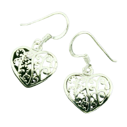 Ohrhänger 925er Sterling Silber- Herzen mit Ornamenten