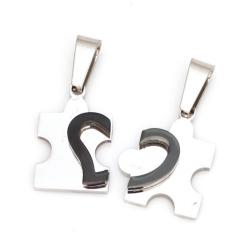 Edelstahlanhänger Puzzel mit Herz -...