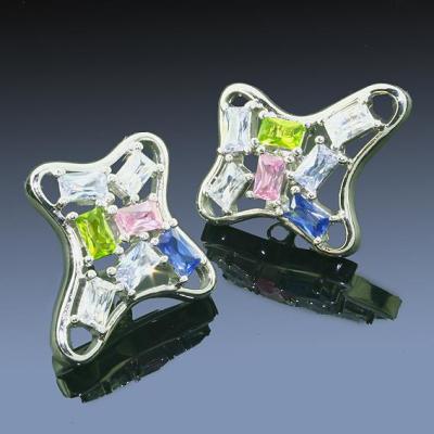 Silberohrringe - Ohrstecker mit verschiedenfarbigen Cubik