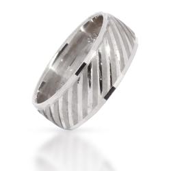 925 Sterling Silberring - diagonale Streifen